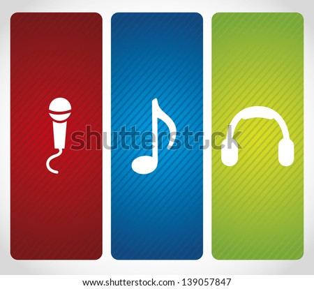 audio icons over bray background vector illustration - stock vector