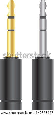 audio jack connectors silver and gold vector illustration - stock vector