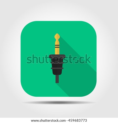 audio jack flat icon with long shadow, vector illustration - stock vector