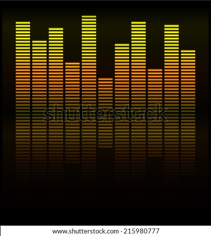Audio level gold LED from Music Studio with reflection Vector. Color scale equalizer Vector. Music decibel Vector.  - stock vector