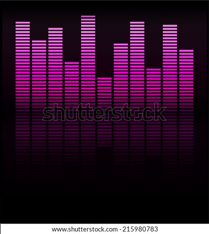 Audio level pink LED from Music Studio with reflection Vector. Color scale equalizer Vector. Music decibel Vector.  - stock vector