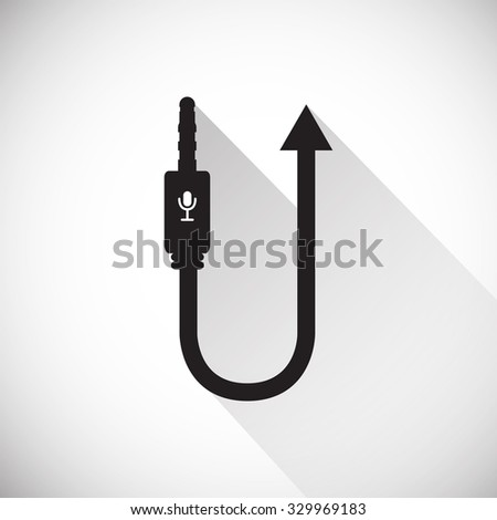 Audio Microphone Wire Cable Computer Icon , Long Shadow - stock vector