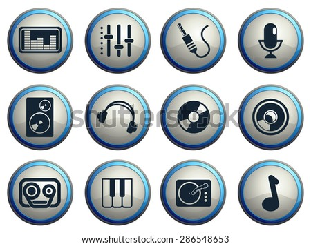 Audio & music simple vector icons - stock vector