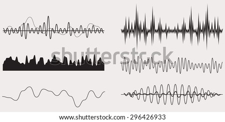 Audio Music Sound Wave,Vector Set - stock vector