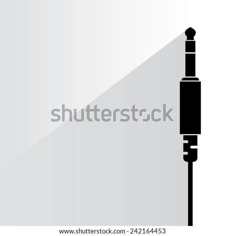 audio plug on white background, flat and shadow theme - stock vector