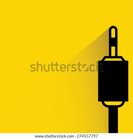 audio plug on yellow background, flat and shadow theme - stock vector