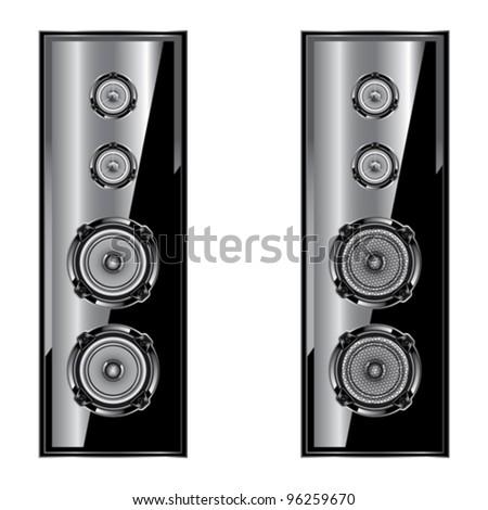 Audio speaker. Loudspeaker acoustic system. Isolated on white background - stock vector