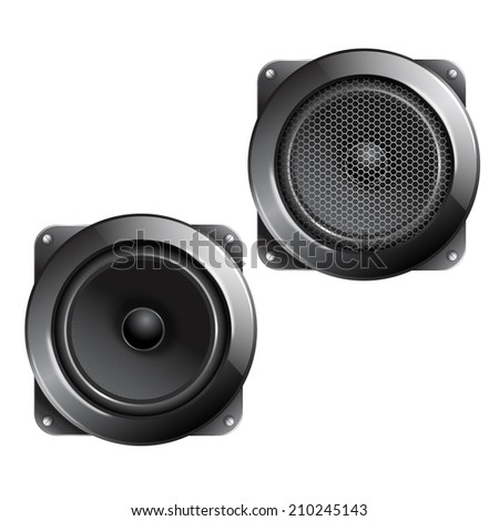 Audio speaker subwoofer music system isolated on white background vector illustration. - stock vector
