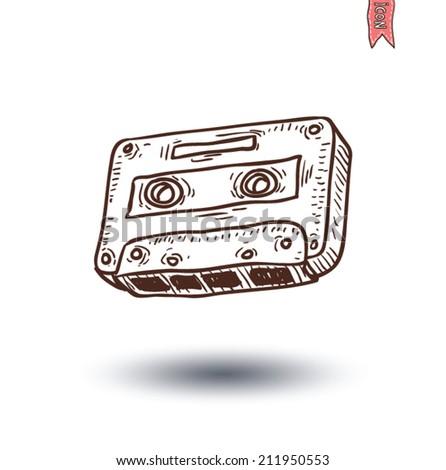 Audio tape cassette record, hand drawn illustration.    - stock vector