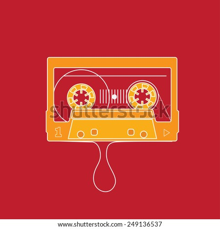 Audio tape. Flat design vector illustration on red background. - stock vector