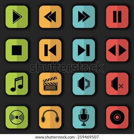 Audio video icons in bright colors. Vector set of buttons. Original style        - stock vector