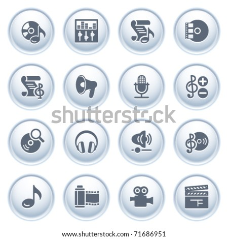 Audio video web icons on buttons. - stock vector