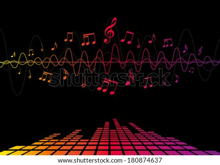 Audio waves and musical notes - stock vector