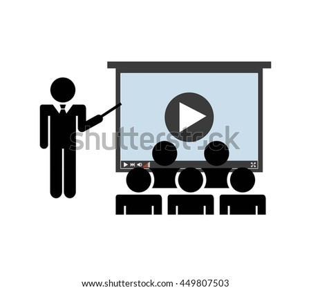 Audiobooks and online learning concept represented by presentation class icon. Isolated and flat illustration.  - stock vector