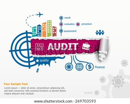 Audit - analyze the financial statement of a company and breakthrough paper hole with ragged edges with a space for your message.   - stock vector