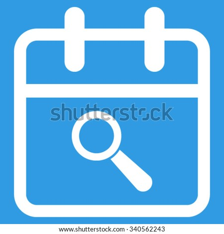 Audit Day vector icon. Style is flat symbol, white color, rounded angles, blue background. - stock vector