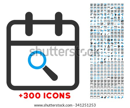 Audit Day vector icon with additional 300 date and time management pictograms. Style is bicolor flat symbols, blue and gray colors, rounded angles, white background. - stock vector