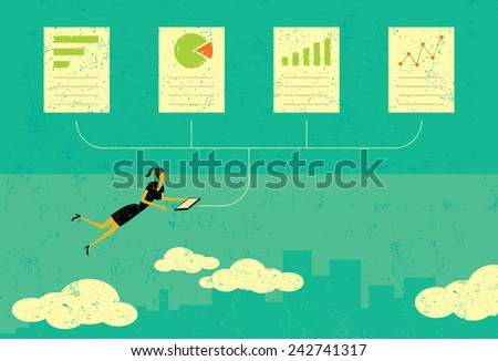 Auditing Financial Documents A woman auditing financial documents over an abstract skyline background. The woman & financial documents and the background are on a separate labeled layers. - stock vector