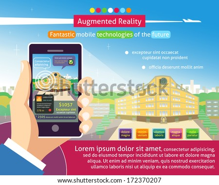 Augmented reality poster, Fantastic mobile technologies of the future vector illustration - stock vector