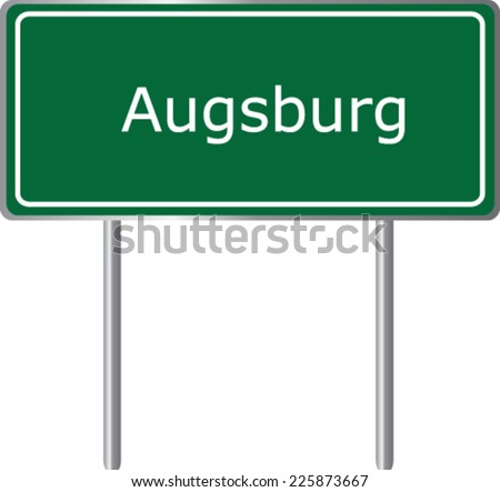 Augsburg, Germany, road sign green vector illustration, road table - stock vector
