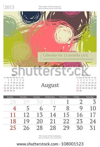 August. 2013 calendar. - stock vector