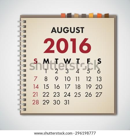 August 2016 Calendar Notebook Vector  - stock vector