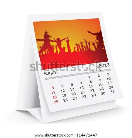 august 2013 desk calendar - stock vector
