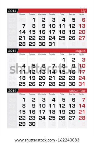 August 2014 Three-Month Calendar - stock vector