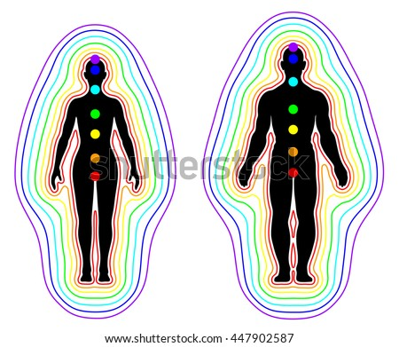 Aura and chakras on white background - vector - stock vector
