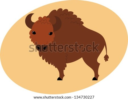 aurochs Â?- vector illustration, large bison at the zoo - stock vector
