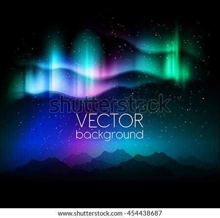 aurora borealis abstract background - vector illustration - stock vector