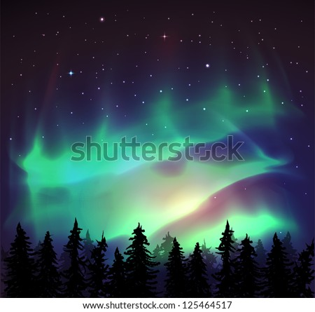 Aurora borealis background - vector illustration. - stock vector