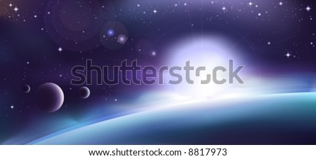 Aurora over a blue planet (other space landscapes are in my gallery) - stock vector
