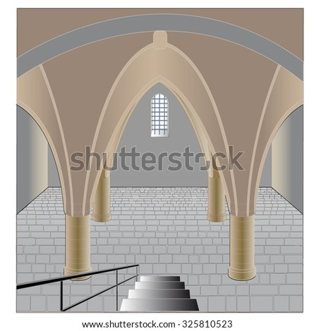 Austere, history dungeon in the basement with arches, stone floor of a small barred window and metal staircase - stock vector
