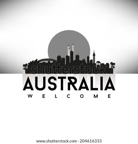 Australia, Black Skyline Design, vector illustration. - stock vector