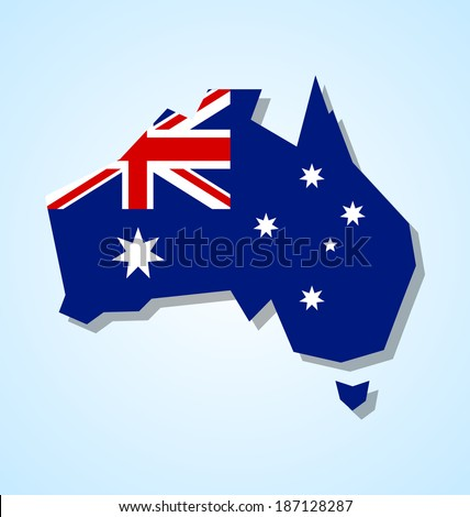 Australia continent with australian national flag inside of the shape isolated on pale blue background - stock vector