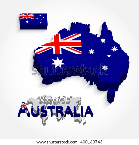 Australia 3D ( flag and map ) ( Transportation and tourism concept ) - stock vector