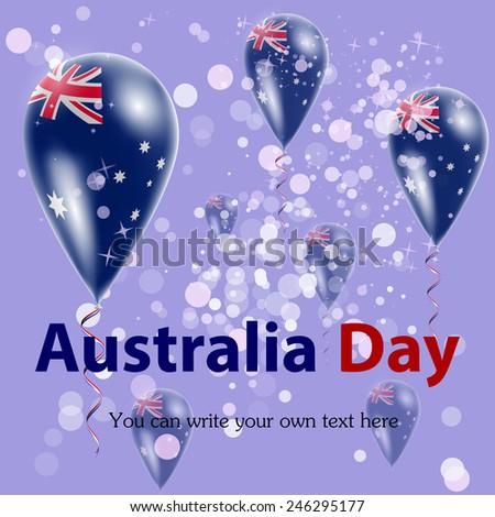 Australia Day. Australian flag in the form of balloons against the sky. I love Australia. Vector. Icon. - stock vector