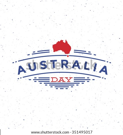Australia Day - 26 January -  Typographic Design - Trendy vintage style badge on white background - stock vector