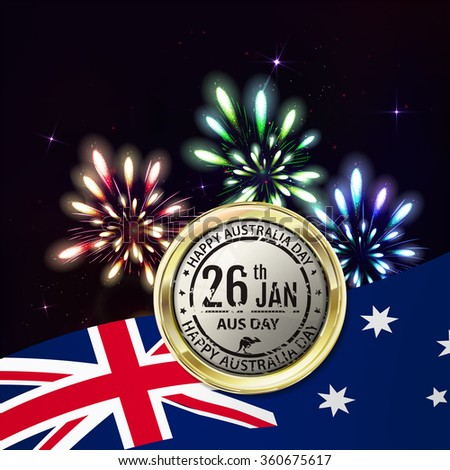 Australia day with emblem and flag. Colorful fireworks on black background. Night sky with stars and salute for australia day in vector. Blue, green, yellow and red fireworks and explosion. - stock vector