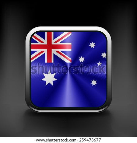 Australia flag national travel icon country symbol button. - stock vector
