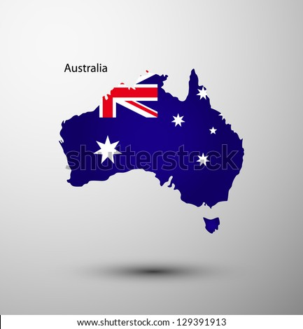Australia flag on map of country - stock vector