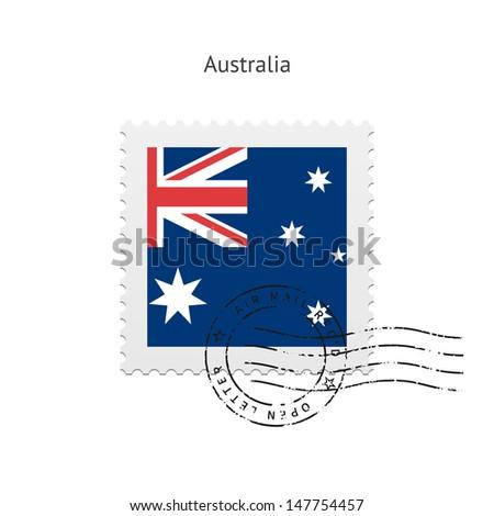 Australia Flag Postage Stamp on white background. Vector illustration. - stock vector