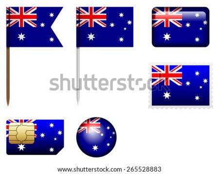 Australia flag set on a white background.  - stock vector