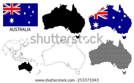 Australia - Four optional contour maps, National flag and Asia map vector - stock vector