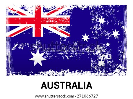 Australia grunge flag isolated vector in official colors and Proportion Correctly. country's name label in bottom - stock vector
