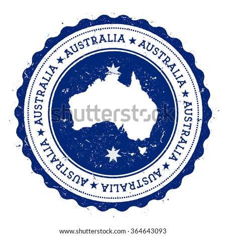 Australia map and flag in vintage rubber stamp of country colours. Grungy travel stamp with map and flag of Australia, vector illustration - stock vector