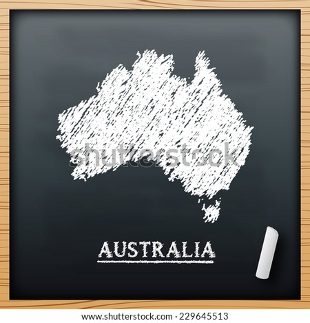 Australia map chalkboard design effect in vector format - stock vector