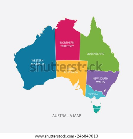 AUSTRALIA MAP COLOR WITH REGIONS flat design illustration vector - stock vector