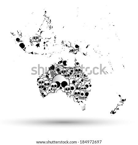 Australia map in the form of skulls background vector - stock vector